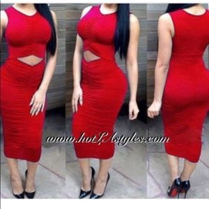 Sexy Red cut out dress